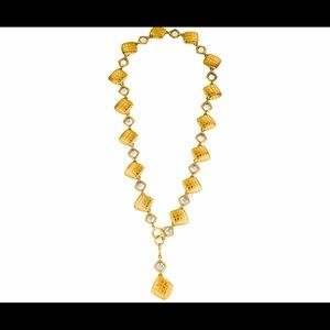 Chanel Crystal and Matelasse Link Necklace
